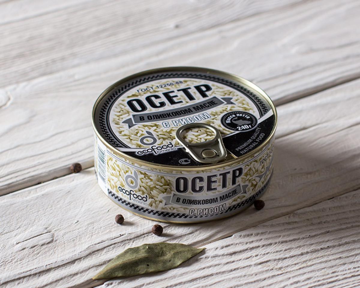 Осётр с рисом в оливковом масле